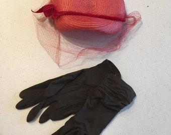 Vintage Ladies hat and gloves