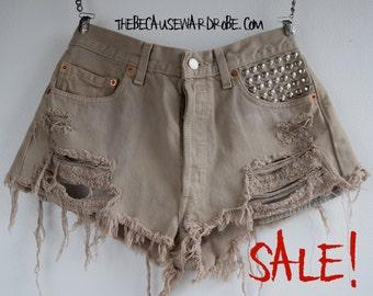 W30 High Waisted Levis Shorts |High Waisted Denim Shorts |Ripped Shorts |Levi's 501 |Studded Shorts | Distressed Shorts |Cut Offs | Denim