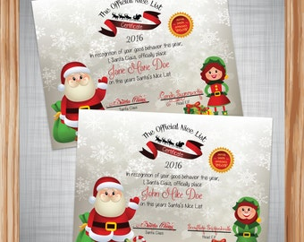 2016 Santa Nice List Certificate ~ Girl Or Boy ~ Digital ~ Personalized and Printable