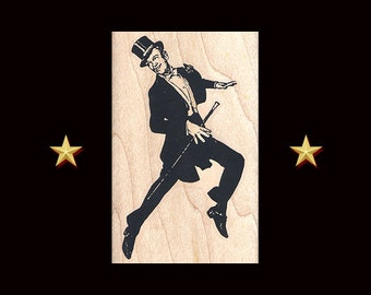 FRED ASTAIRE DANCING Rubber Stamp – Wood Mounted, Fred Astaire gift, Fred and Ginger, Dancer Stamp, Ballroom Dance, Ginger Rogers, Dance