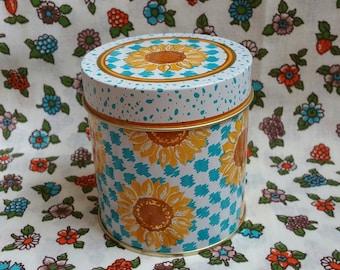 Vintage 1995 Avon Sunflower Tin with Lid