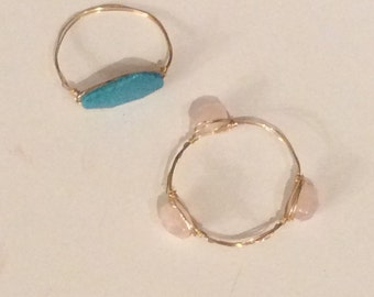 Wire Wrapped Gemstone Bangles