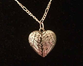 Angel Winged Heart Charm Necklace