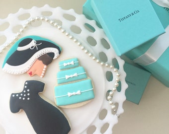 Breakfast at Tiffany, Tiffanys Cookies, Audrey Hepburn, Tiffany Blue Cookies, Tiffany Blue, Treat Bags, Party Favors, Cookie Gifts