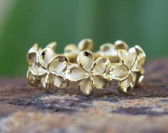 Hawaiian Silver Gold Plated Plumeria Flower Lei Wedding Ring Band 8mm SR3275