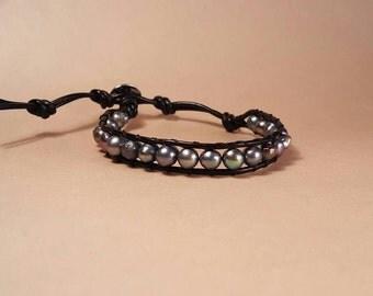 Gray freshwater pearl leather wrap bracelet