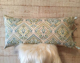 Lumbar pillow, teal blue,olive green,taupe,cream,slate grey,home decor,tie closures,washable pillow cover,couch pillow // OwnYourLeaf pillow