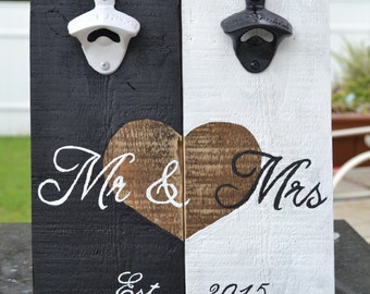 Wedding Rustic Vintage Anniversary Mr & Mrs Bottle Openers pallet art