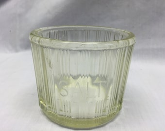 Hoosier style salt tub clear/yellowish glass