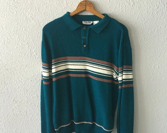1970's Striped Teal Vintage Sweater by Repage