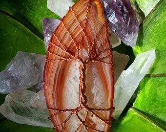Tree Of Life - Agate Slice, Copper, Vibrant Gemstone
