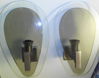 Fontana Arte applique oval sconce pair crystal smoke glass and chrome stand Made in Italy 1960s