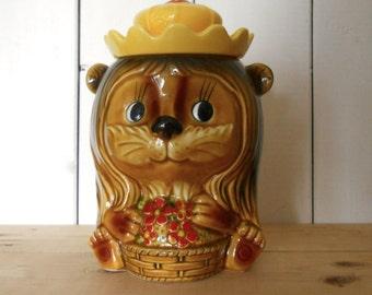 Vintage Kitsch Lion Cookie Jar/Biscuit Barrel