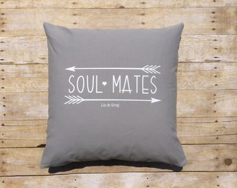 Soulmate Pillow Cover Custom Name Pillow Decor Throw Pillow Couple Personal Wedding Pillow 20x20 in