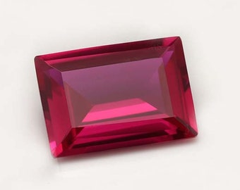 AAA Rated Find Baguette Faceted Lab Created Ruby Corundum Synthetic Gemstone Sizes 7x5mm-30x15 mm Flame Fusion Niharika Gems