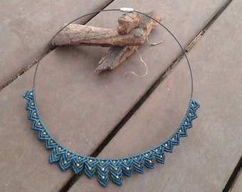 MARLENE. Flower macrame necklace, Macrame Jewelry, Macrame necklace, gift, Bohemian necklace, micro macrame, fairy necklace