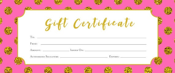 Gold polka dots printable gift certificate hot pink for Blank birthday gift certificate template