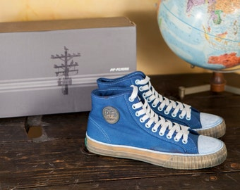 Indigo Dyed Center-Hi PF Flyers with Gum Sole