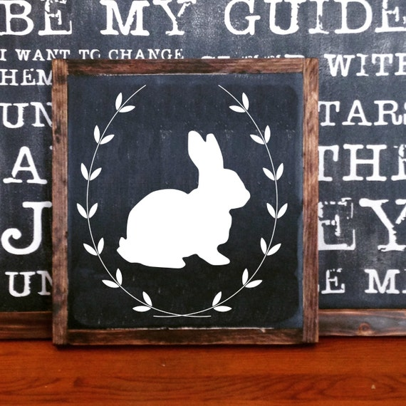Items Similar To Simple Easter Bunny Spring Sign With