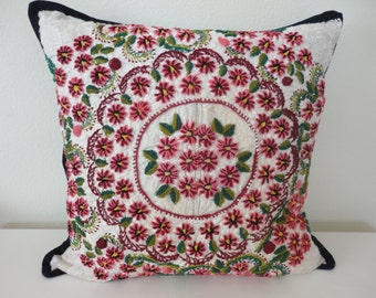 "Hand Embroidered Pillow / 20"" x 20"" / Artisanal Pillow / Decorative Pillow / Mexican Pillow"
