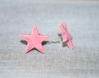 Chips earrings Star Pink ceramic