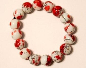 Cherry Lotus Stretch Bracelet