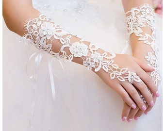 Ivory Bridal Gloves Wedding Gloves Elbow Gloves Bridal Ivory Lace Gloves Flower Gloves Ivory Fingerless Gloves Long Gloves