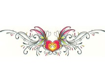 Large Lower Back Heart with Butterflies Temporary Tattoo (#VS901)