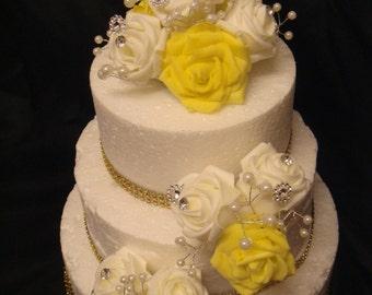 a  rose pearl diamante set anniversary wedding cake topper  set