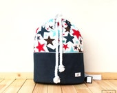Backpack sailor of cotton with waterproof backing of stars / stars & jeans drawstring cotton inner waterproof backpack