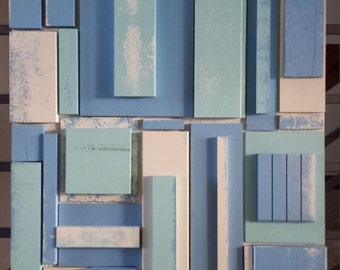 White and Blues Reclaimed Wood Wall Art