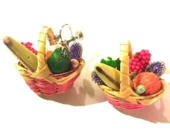 Vintage fruit basket screwback earrings