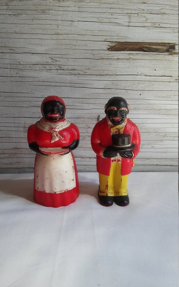 "Vintage 1950's Black Americana F & F Mold and Die Works Aunt Jemima and Uncle Mose Salt and  Pepper Shakers. Both 5"". Nicely used condition"