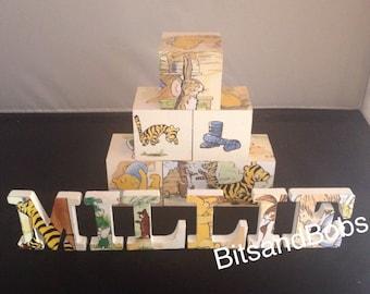 Winnie the Pooh letters, wooden blocks, nursery letters, baby names