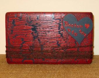 Red Sox Frame, Baseball Wood frame, Boston Red Sox, Wooden sports, Jute block, Sports frame, Distressed frame, Wooden Red Sox, Wooden heart