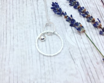 Circle Necklace, Sterling Silver Round Pendant, Circle Pendant, Layering Necklace, Silver Circle, Geometric Necklace, Galaxy Necklace,