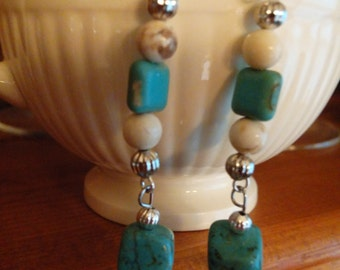 Magnesite Turquoise and Jasper Beaded Earrings