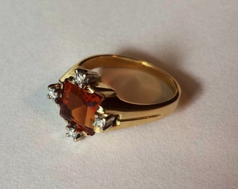 14K Yellow Gold Ring With Madeira Citrine and Diamonds, Size 6.75