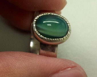 Sterling Silver .925 Ring With Agate Cabochon, Size 7.5