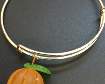 Pumpkin Bangle Bracelet - Halloween Bracelet