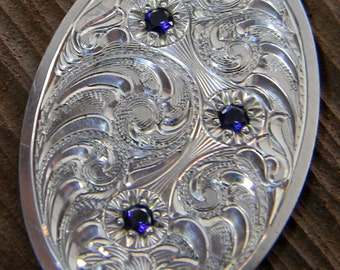 Hand Engraved Sterling Silver Pendant/Oval With Bead-Set Sapphires