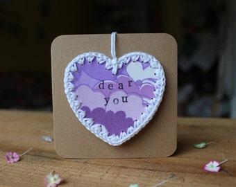 a cute retro heart gift card 'dear you'