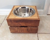 "FREE SHIPPING - Feeding Stand - Elevated Dog Feeder - Raised Dog Feeder - Dog Bowl - Rustic  Dog Bowl Feeder - Single 9"" Bowl - Palletized"