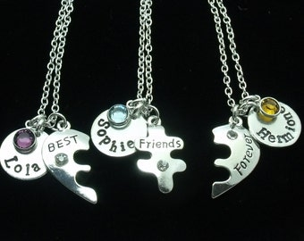 Three (3) Best Friend Necklaces, 3 BFF necklaces, 3 BFF Gift, Jewellery for Best Friends, Personalised Name, Birthstone, Friendship Gift