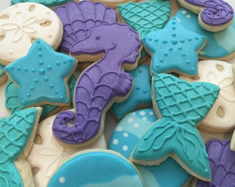 Mermaid Themed Cookies  (1 Dozen)