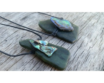 Large Green Stone & Paua Shell necklace