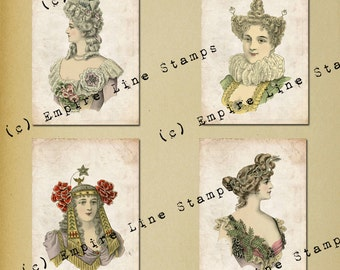 Antique Fancy Dress #2 3.5 x 5 inch tags backgrounds ATC Downloadable Collage Sheet Printable Scrapbook Paper Crafts