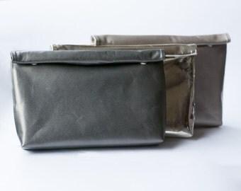 Genuine leather clutch, paperbag clutch, evening purse, rolltop clutch, silver metallic clutch