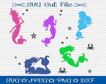 Mermaid SVG / SVG Cut File / Silhouette Cameo Designer Edition / Cricut Design Space / Vinyl Cutting File