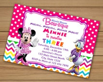Minnie Mouse and Daisy Duck Birthday Invitation, minnie mouse invitation printable, minnie mouse birthday, Daisy Duck invitation birthday